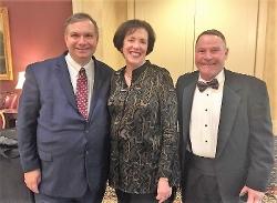 John Fund, keynote speaker; Ellen Barrosse, GOP National Committeewoman; Hank McCann, Kent County GOP Chair.