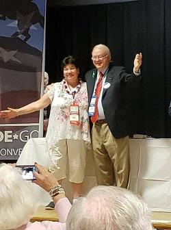 DE GOP Chairman Mike Harrington with Peg Hood winner Laurie Purdy